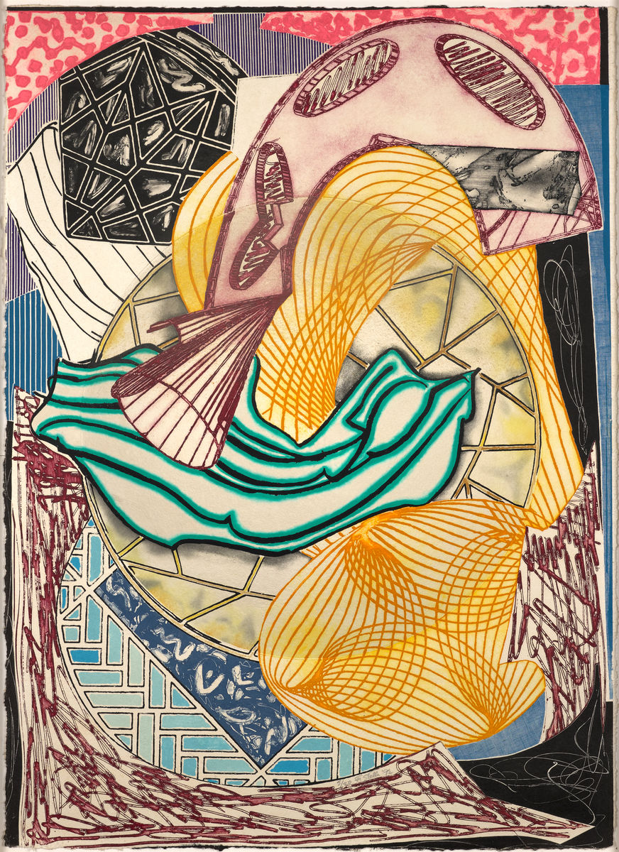 Frank Stella, American, born 1936. The Cabin. Ahab and Starbuck, 1991. Etching, aquatint, relief, and Carborundum on white, shaped TGL handmade paper, 185.4 × 134.6 × 15.2 cm. Collection of Preston H. Haskell, Class of 1960 / © 2017 Frank Stella / Artists Rights Society (ARS), New York
