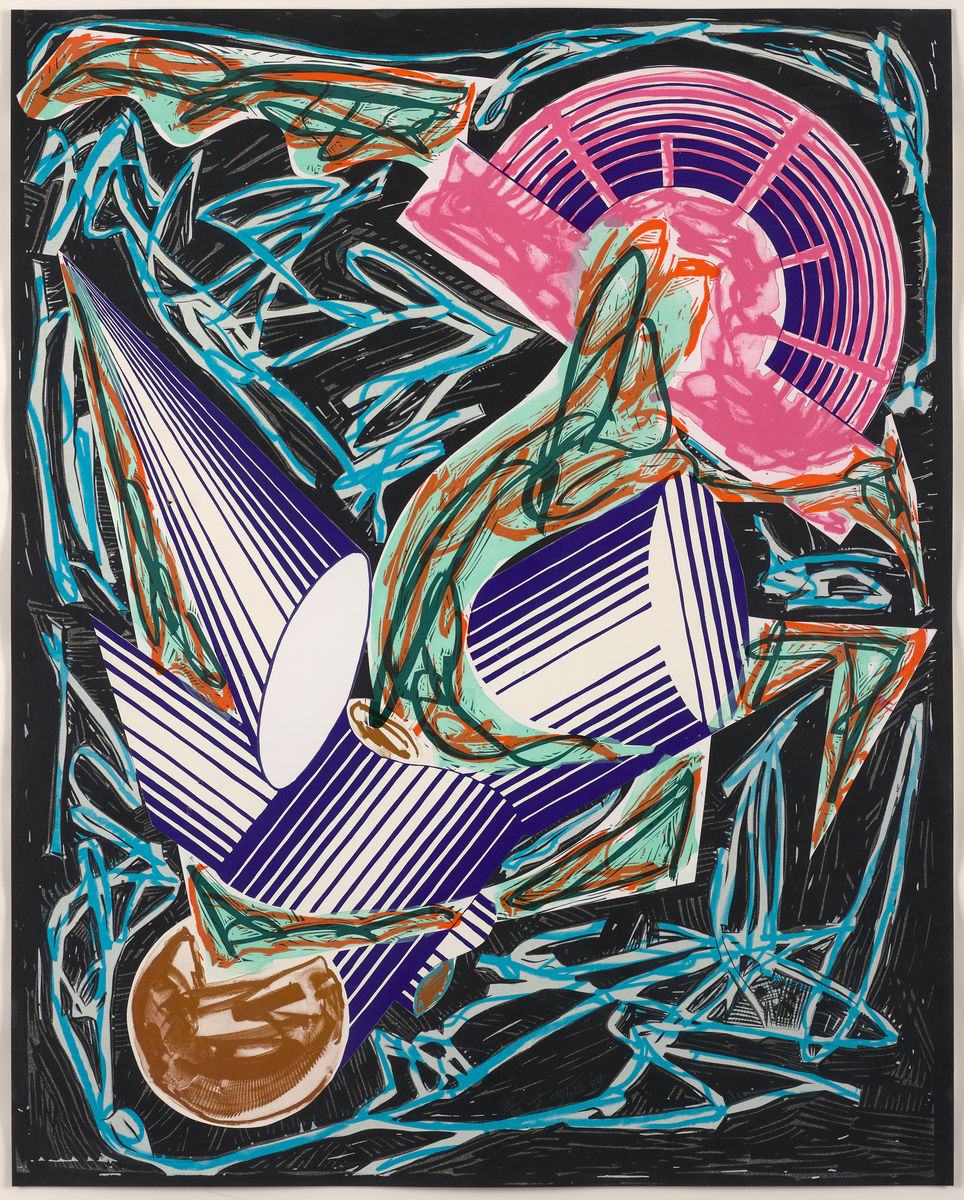 Frank Stella, American, born 1936. Had Gadya: Front Cover, 1984. Handcoloring and collage with lithograph, linocut, and screenprint on T.H. Saunders paper (background) and shaped, hand-cut Somerset paper (collage), 108 × 86 cm. Collection of Preston H. Haskell, Class of 1960 / © 2017 Frank Stella / Artists Rights Society (ARS), New York