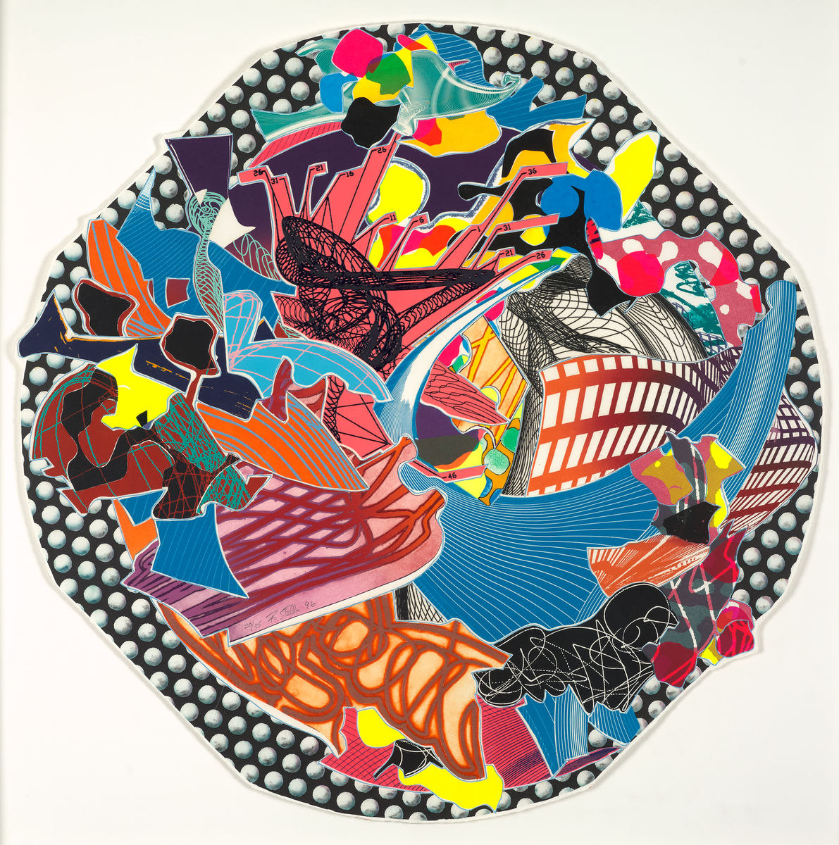 Frank Stella (American, born 1936), Fattipuff, 1996. Lithograph, screenprint, etching, aquatint, and relief on white TGL handmade paper, diam. Collection of Preston H. Haskell, Class of 1960. © Frank Stella/Artists Rights Society (ARS), New York