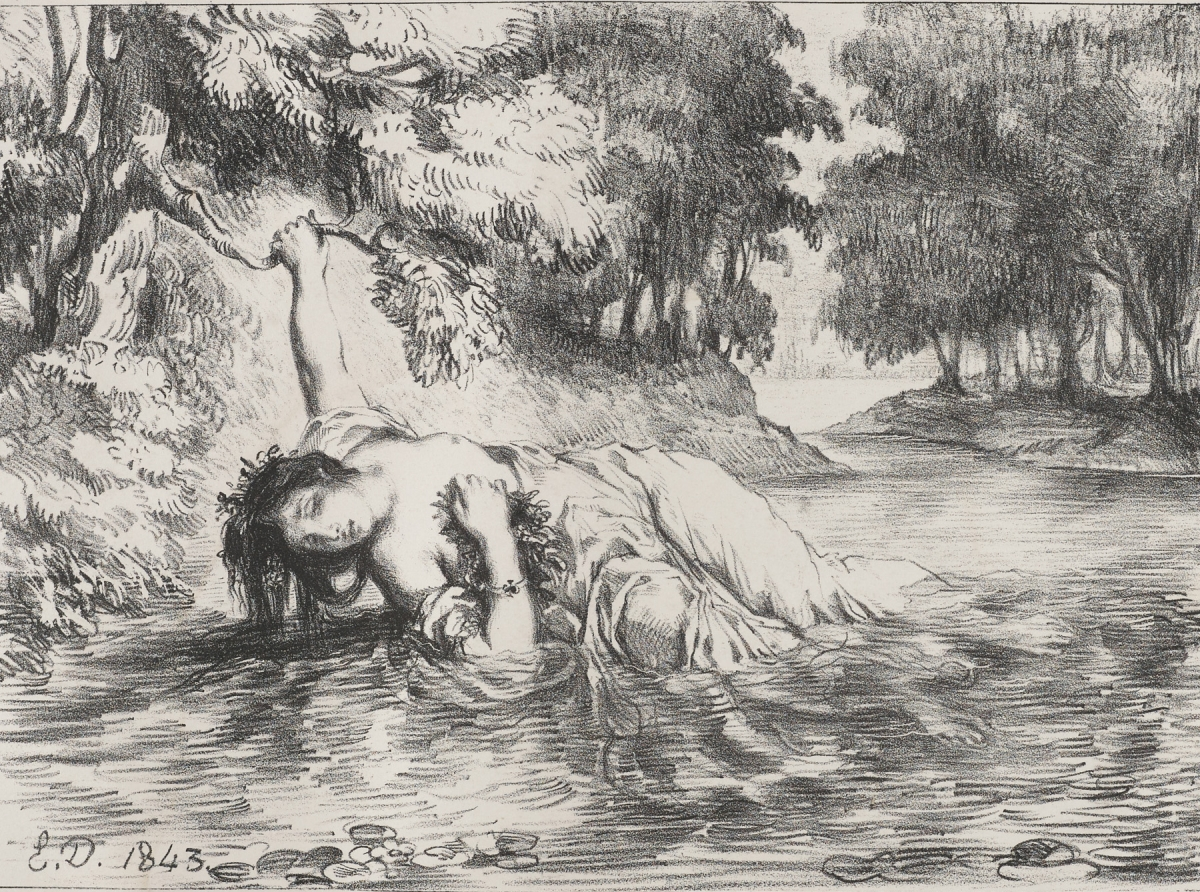 Eugène Delacroix (French, 1798–1863), The Death of Ophelia, 1843. Lithograph, from the portfolio Hamlet, 1834–43. Published by Dusacq & Cie., Paris, 1864, 18.6 x 25.5 cm. Graphic Arts Collection, Rare Books and Special Collections, Princeton University Library, Gift of Sinclair Hamilton, Class of 1906