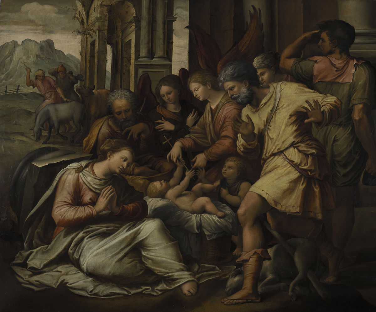 Perino del Vaga (Pietro Buonaccorsi) (Italian, 1501–1547), Adoration of the Shepherds, ca. 1530–35. Oil on wood panel, 101.9 x 125.4 cm. Gift of George R. Goldner, Graduate School Class of 1972