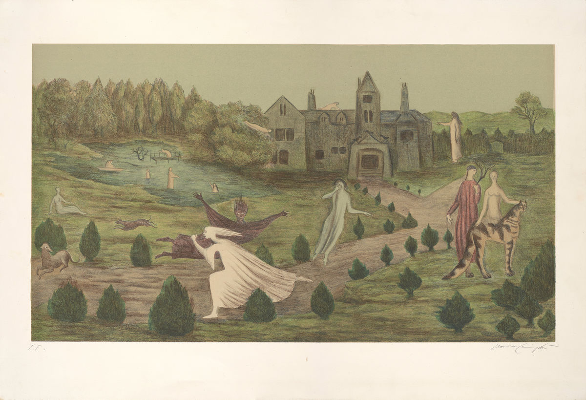 Leonora Carrington, British, active Mexico and United States, 1917–2011, Crookhey Hall, 1987. Color lithograph. Gift of David L. Meginnity, Class of 1958. © Leonora Carrington / Artists Rights Society (ARS), New York.