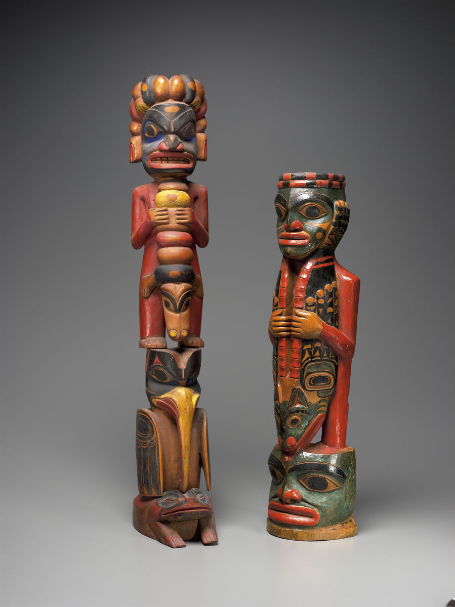 Tlingit, southeastern Alaska, left: Model pole of Tlukwx -aasá-Gaas' (Woodworm Girl Post), before 1885. Wood, pigment, 56.2 x 9.99 x 13.5 cm; right: Painted carving representing Dukt'ootl' (Black Skin or Strong Man), before 1882. Wood, pigment; 44.4 x 11.93 x 8.59 cm. Lent by the Department of Geology and Geophysical Sciences, Princeton University