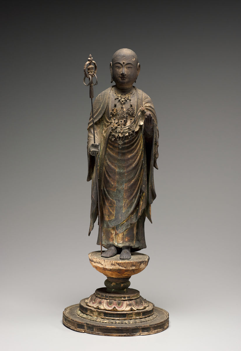 Japanese, Kamakura period, 1185–1333, Japan, Standing Jizō Bosatsu (Skt: K itigarbha Bodhisattva), 13th century. Wood and metal with color and gold. Princeton University Art Musuem, Museum purchase, Fowler McCormick, Class of 1921, Fund.