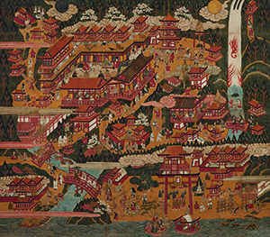 Japanese artist, Momoyama period, 1568–1615, Nachi Pilgrimage Mandala. Hanging scroll; ink and color on paper, 152 × 165 cm. Gitter-Yelen Collection, New Orleans