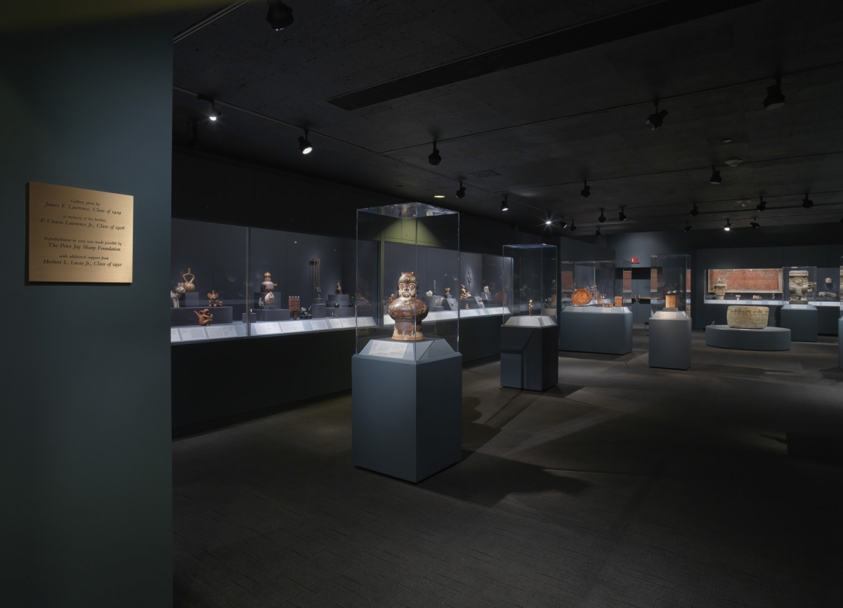 View of the ancient Americas galleries. Photo: Bruce M. White right: Early Classic Maya works of art. Photo: Bruce M. White