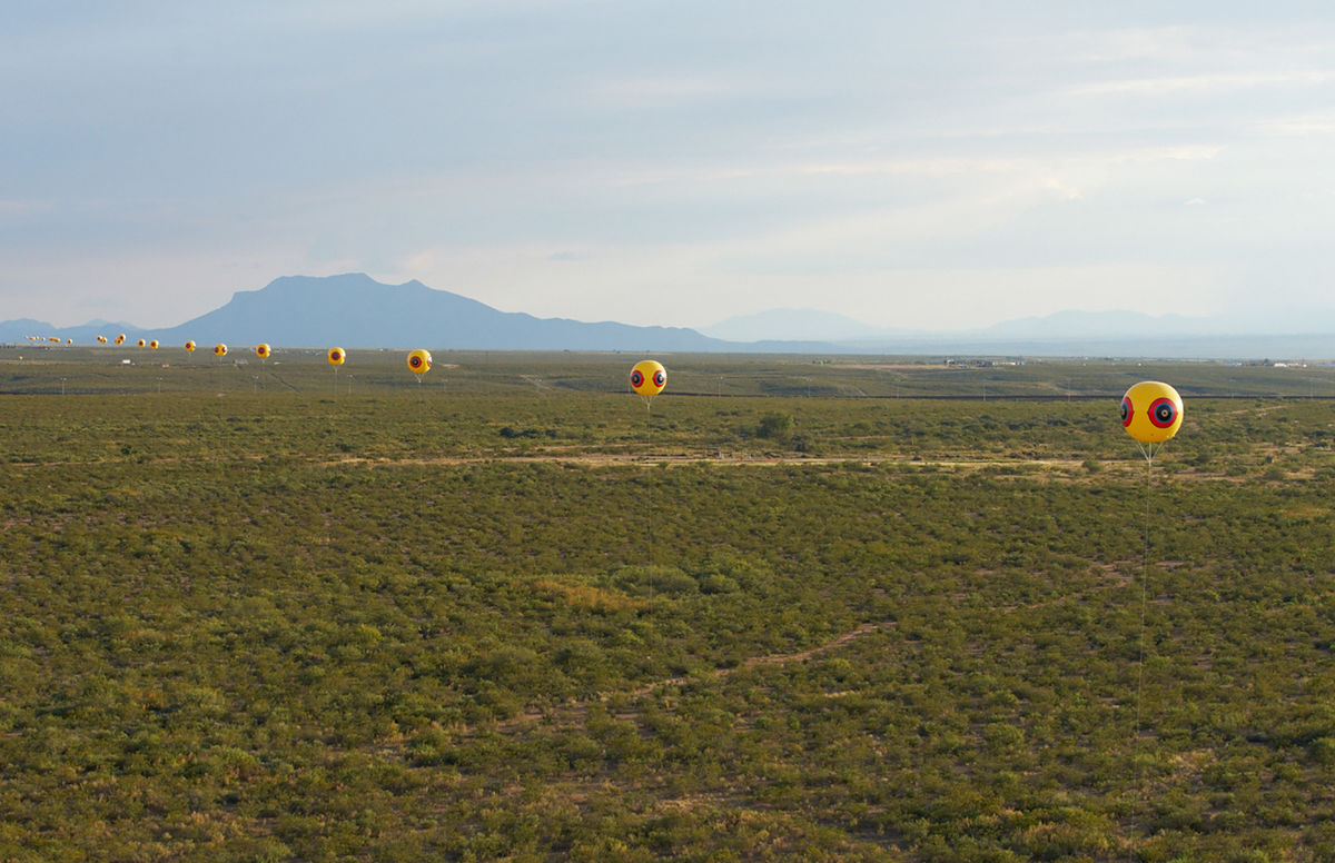 Postcommodity's Repellent Fence/Valla Repelente installed along the US–Mexico border in October 2015. © Postcommodity