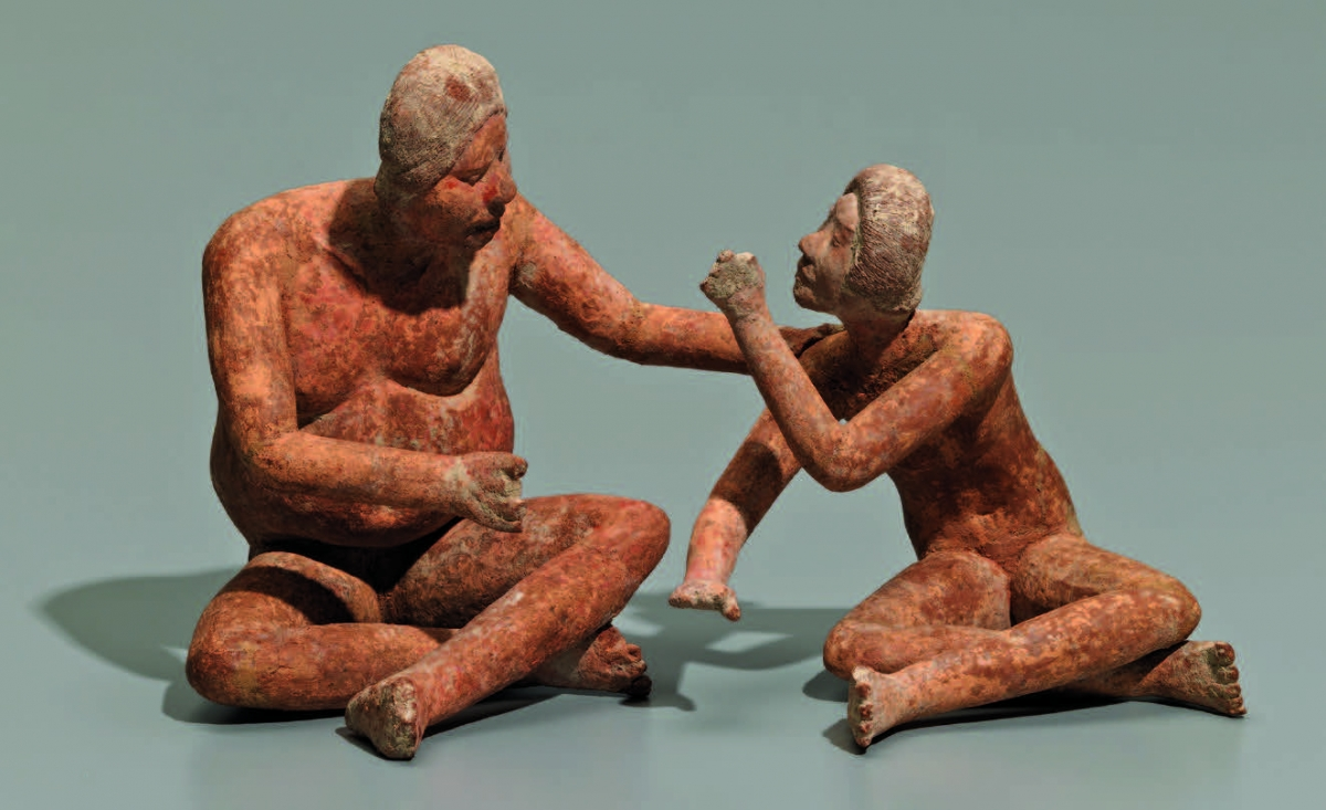 Late Formative, Xochipala, Guerrero, Mexico, Seated adult and youth, 400 b.c.–a.d. 200. Red-brown micaceous ceramic, h. 13.5 cm.; h. 11.0 cm. Gift of Gillett G. Griffin in honor of David W. Steadman, Graduate School Class of 1969. Photo: Bruce M. White