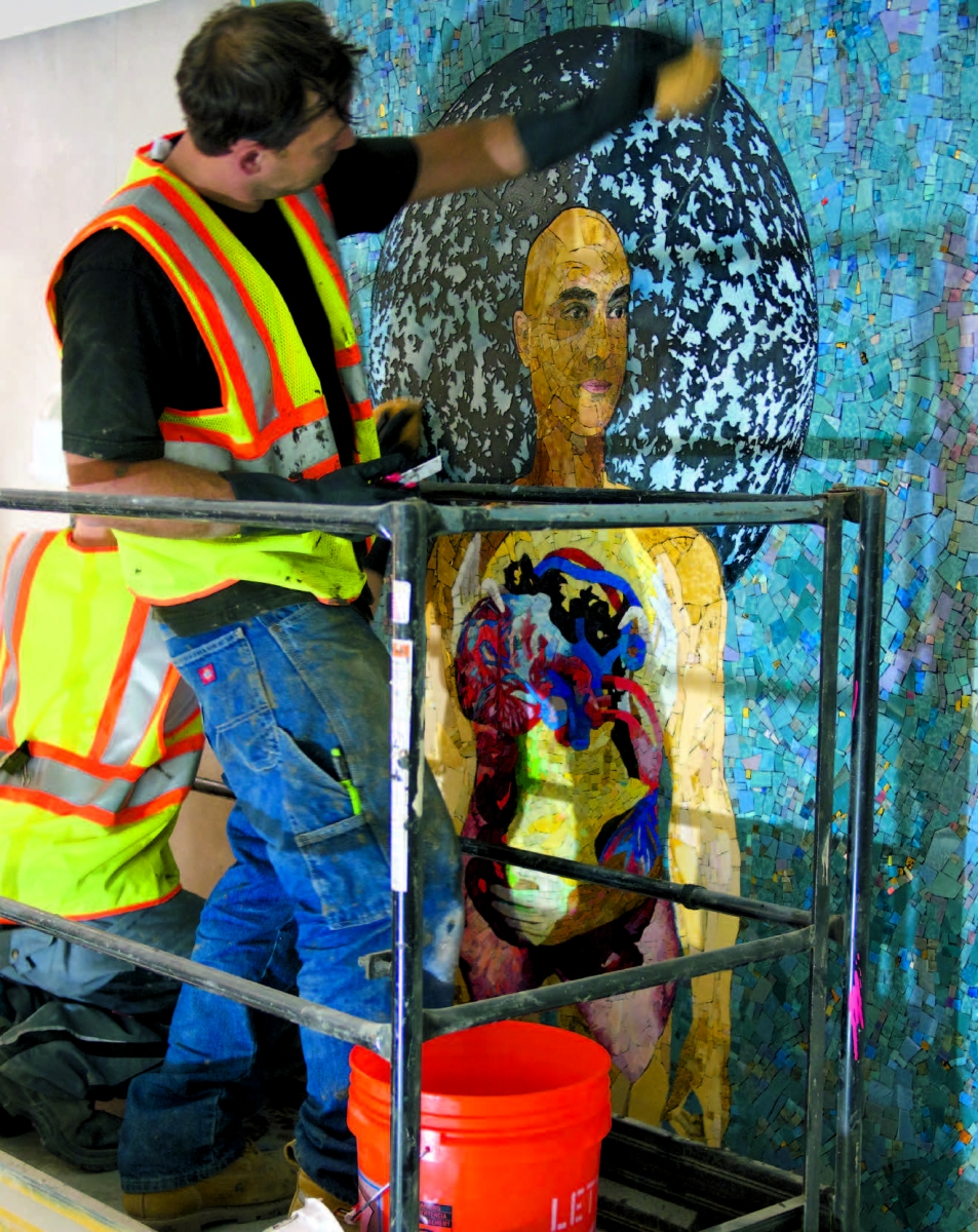 Installation  of the mosaic in the atrium of the Louis A. Simpson *60  International Building