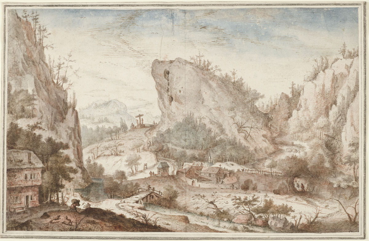 Roelandt Savery (Flemish, 1576–1639), Alpine Landscape with Travelers near a Village, 1603–4. Pen and brown ink, gray, blue, brown, and rose washes, over red chalk, on cream laid paper. Museum purchase, Felton Gibbons Fund, and Laura P. Hall Memorial Fund