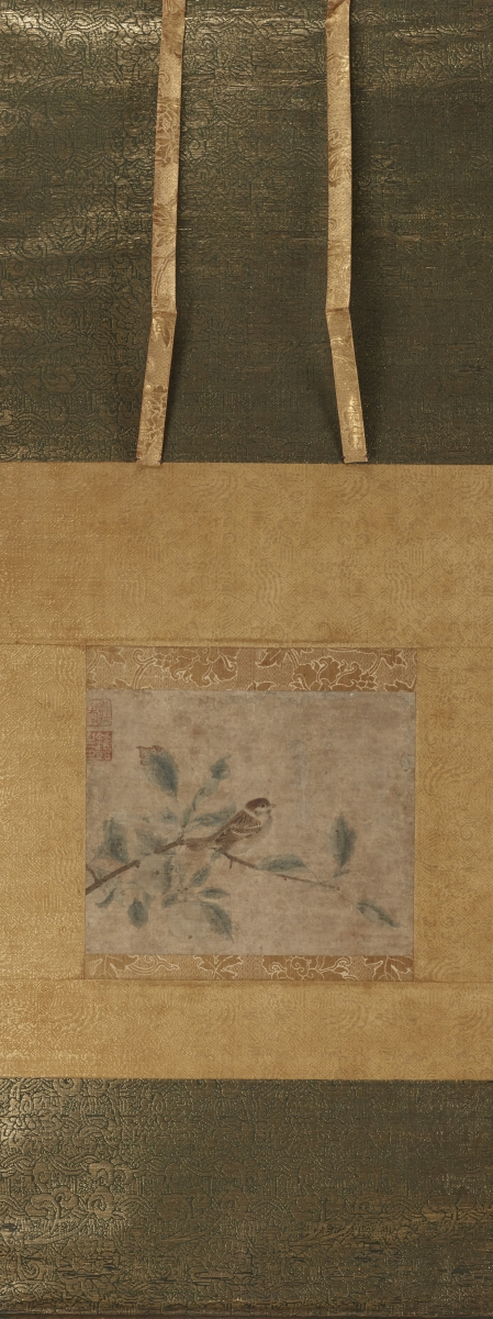Attributed to Qian Xuan (ca. 1235–1300), Chinese, Yuan dynasty, 1260–1368, Sparrow on Apple Branch, ca. 1330–68. Hanging scroll; ink and color on paper, painting: 22.3 x 27.7 cm. Museum purchase, Carl Otto von Kienbusch Jr. Memorial Collection