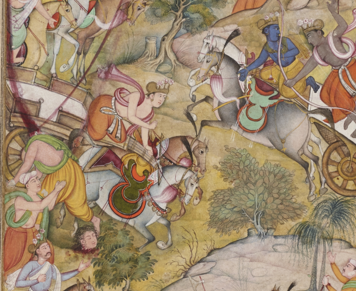 Indian Mughal (School of Akbar), Arjuna Beheading Karna with an Anjalike Weapon (full view and detail), from the Razmnama (Book of War) (detail), 1598–99. Ink and colors on paper, 20.7 x 12.4 cm. Gift of J. Lionberger Davis, Class of 1900
