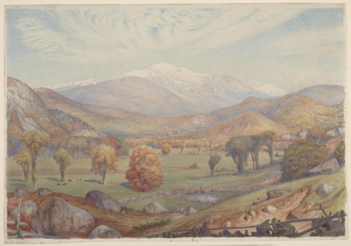 Charles Herbert Moore (American, 1840–1930), Mount Washington, 1872. Watercolor and touches of graphite on cream wove paper, 16 x 23 cm. Gift of Miss Elizabeth Huntington Moore, the artist's daughter, presented by Mrs. Frank Jewett Mather Jr.