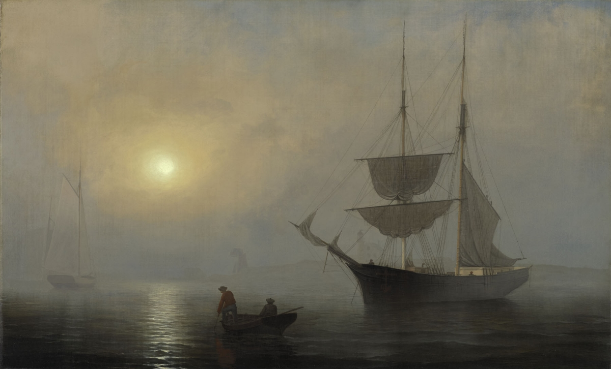 Fitz Henry Lane (American, 1804–1865), Ship in Fog, Gloucester Harbor, ca. 1860. Oil on canvas, 61 x 99 cm. Museum purchase made possible by the Fowler McCormick, Class of 1921, Fund; the Kathleen C. Sherrerd Program Fund for American Art; and Celia A. Felsher, Class of 1976, and John L. Cecil, Class of 1976