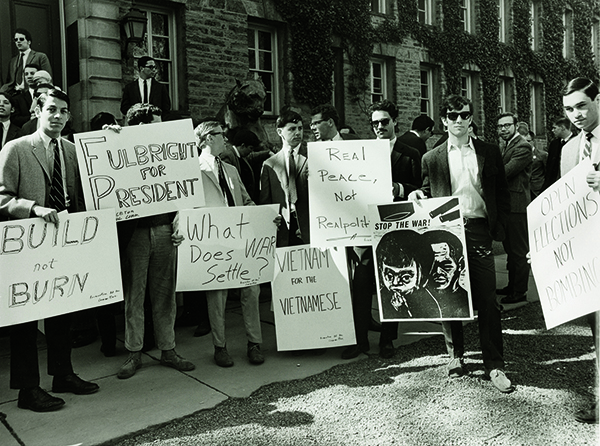 Ann Meuer for the Princeton University Department of Information, Students at Princeton University protest the war in Vietnam, ca. 1968. Gelatin silver print, 20.3 × 25.4 cm. University Archives, Princeton University Library