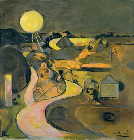 Graham Sutherland (British, 1903–1980), Road at Porthclais with Setting Sun, 1975. Oil on canvas, 52.7 x 50.4 cm. National Museum Wales (NMW A 2267). Courtesy American Federation of Arts. © Estate of Graham Sutherland