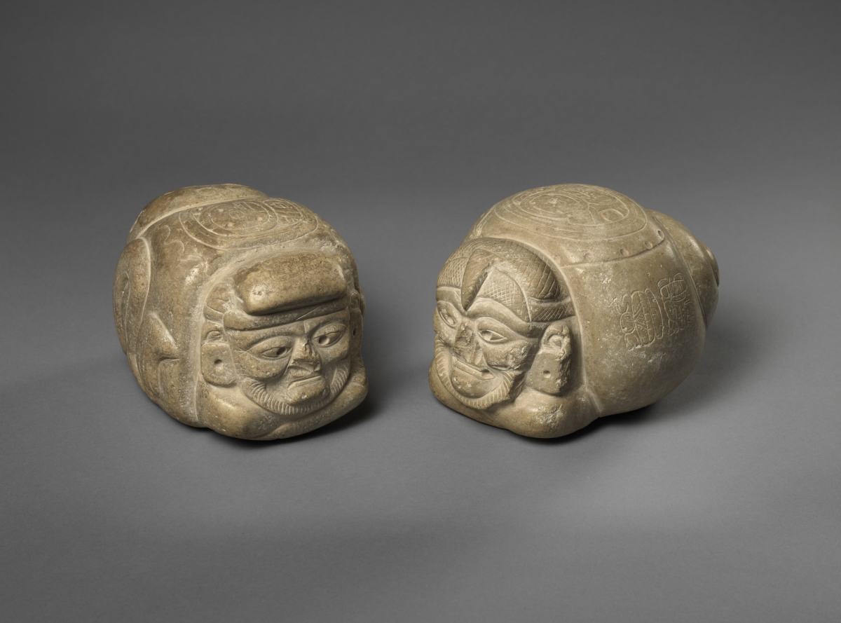 Two zoomorphic pawatuns, ca. 550. Signed by the artist Chak Til Mo' (Red Tapir-Macaw), Maya, Early Classic. White stone (finegrained chalk), a: 13.3 x 17.1 x 14.6 cm, b: 12.7 x 13.3 x 17.8 cm. Museum purchase, Fowler McCormick, Class of 1921, Fund (2013-78 a–b). Photos: Bruce M. White