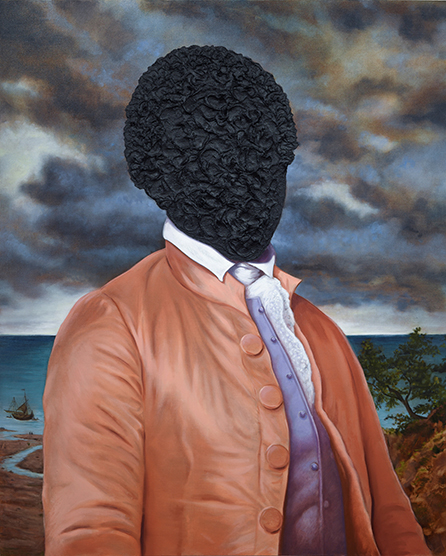 Titus Kaphar, American, born 1976. Billy Lee: Portrait in Tar, 2016. Tar and oil on canvas