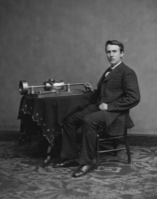 Thomas Edison with the phonograph, photographed by Mathew Brady in Washington, April 1878