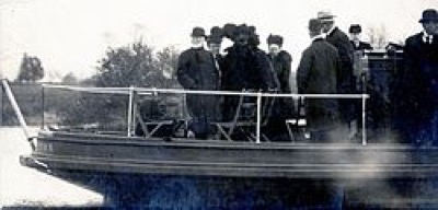 Andrew Carnegie (left) and Princeton University officials at Lake Carnegie's dedication ceremony on December 5, 1906.