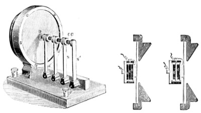 Butler's illustration of Thomas Edison's microphone (Edison Carbon Transmitter) in Electricity and the Electric Telegraph, by Prescott George Bartlett based on Butler's many trips to Edison's laboratory in Menlo Park.