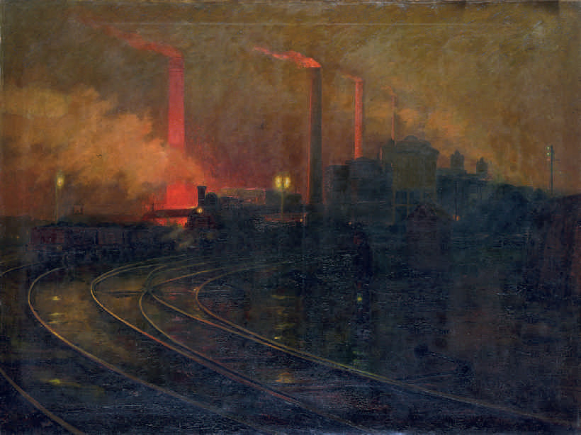 Lionel Walden (American, 1861–1933), Steelworks, Cardiff, at Night, 1895–97. Oil on canvas, 150.8 x 200.4 cm. National Museum Wales (NMW A 2245). Courtesy American Federation of Arts