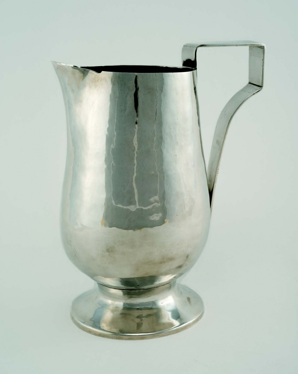 Rosalie Roos Wiener, Water Pitcher, ca. 1930–33. Silver, h. 27.3 cm. Newcomb Art Collection,  Tulane University