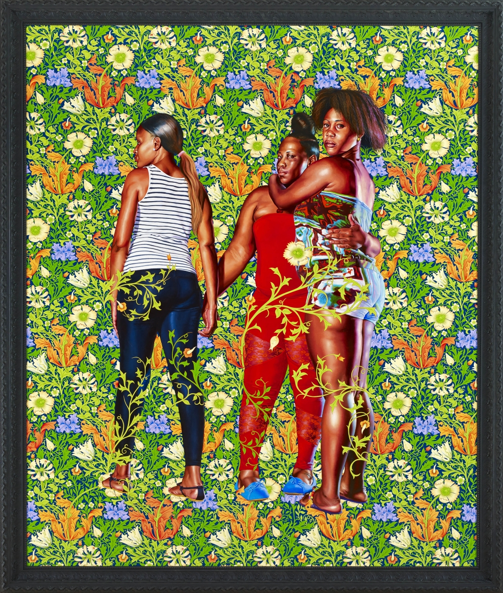 Kehinde Wiley (American, born 1977), Naomi and Her Daughters, 2013. Oil on canvas, 299.7 x 255.3 x 10.2 cm. Nancy A. Nasher and David J. Haemisegger Collection. © Kehinde Wiley Studio