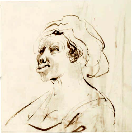 Guercino (Giovanni Francesco Barbieri, Italian, 1591–1666), Woman with Deformed Lips, 1630s–40s. Pen and brown ink with brush and brown wash on beige laid paper, 16.7 x 16.5 cm. Bequest of Dan Fellows Platt, Class of 1895 (x1948-1302)