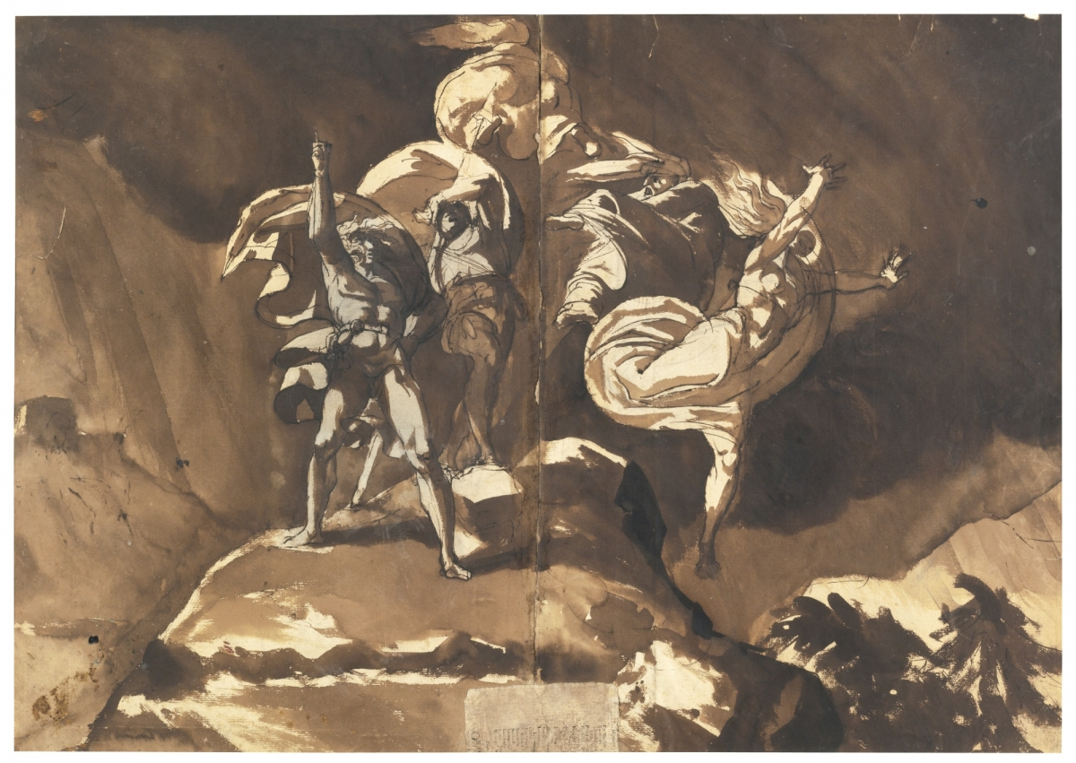 Henry Fuseli (British, born in Switzerland, 1741–1825), The Witches Floating above Macbeth and Banquo, ca. 1785–90. Pen and brown ink, brown wash, over black chalk on two joined sheets of cream laid paper, 46.4 x 61.6 cm. Collection of Frances Beatty  and Allen Adler, Class of 1967