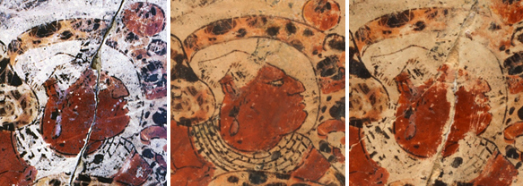 Three detail views of face of figure before, when restored, and after of Late Classic Maya attributed to the Master of the Pink Glyphs B Patron: Yajawte' K'ihnich Cylinder Vase with Dance Scene ca. 760 Ceramic with polychrome slip h. 19.3 cm., diam. 14.3 cm. (7 5/8 x 5 5/8 in.) Museum purchase, gift of Mr. and Mrs. James E. Burke, with matching funds from IBM Corporation, Johnson & Johnson, and the Prudential Foundation y1988-22 left photo: Nicholas Hellmuth, © Dumbarton Oaks, Pre-Columbian Collection, Washington D.C. middle and right photo: Bruce M. White