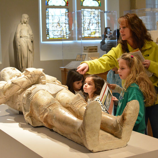 Children learning about medieval art