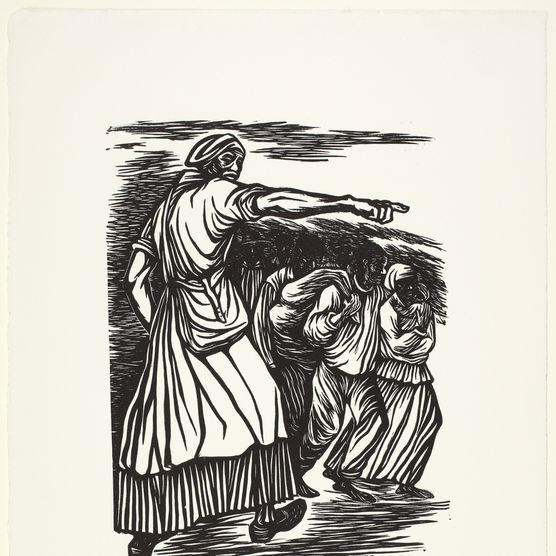 Linocut print depicting Harriet Tubman directing a group of fugitive slaves along a path of the Underground Railroad.