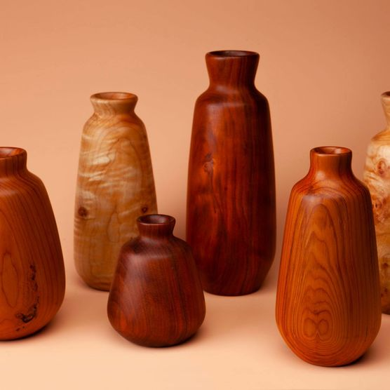 Assortment of wood vases by Phil Gautreau.