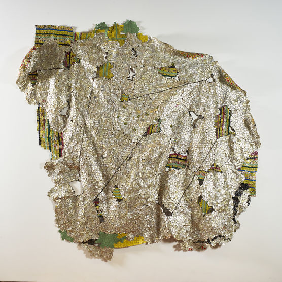 EL ANATSUI. Another Place, 2014. Found aluminum and copper wire, 111 1/2 x 112 inches installed. ©El Anatsui.  Courtesy of the artist and Jack Shainman Gallery, New York.