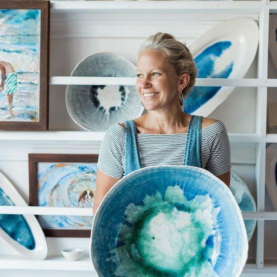 Alexandra Vaga in her studio in Bay Head, NJ