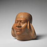 Mochica, Early Intermediate (Late Moche, Phase V): Vessel in the form of a notable wearing a turban, A.D. 500–800. Ceramic, molded, carved and burnished with cream and red slip. Bequest of Gillett G. Griffin (2016-1073).