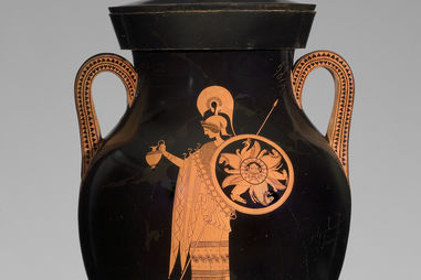 Greek, Attic, attributed to the Berlin Painter, Greek, Attic, fl. ca. 500-ca. 460 B.C.Red-figure Amphora of Type A: A, Athena; B, Herakles, ca. 500–490 B.C. Ceramic, 67.4 × 79 × diam. 42.8 cm. Antikenmuseum Basel und Sammlung Ludwig (BS 456)