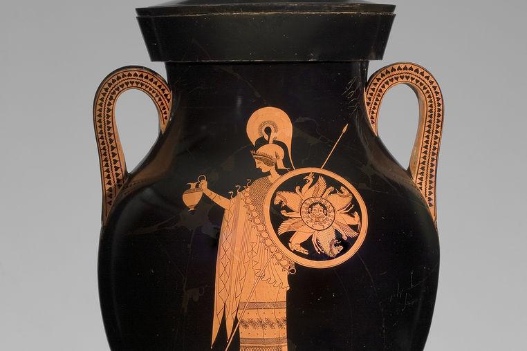 Greek, Attic, attributed to the Berlin Painter, Greek, Attic, fl. ca. 500-ca. 460 B.C.Red-figure Amphora of Type A: A, Athena; B, Herakles, ca. 500–490 B.C. Ceramic, 67.4 × 79 × diam. 42.8 cm. Antikenmuseum Basel und Sammlung Ludwig (BS 456)