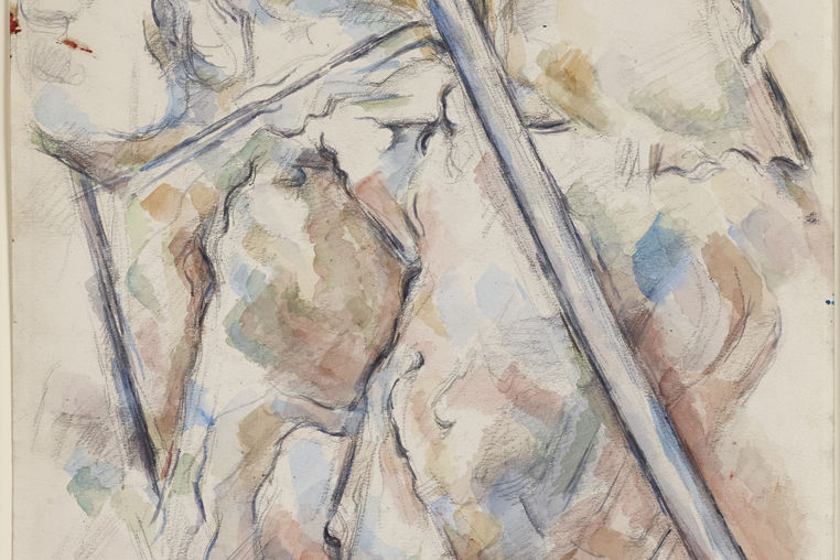 Paul Cézanne, French, 1839–1906. Pine Tree in Front of the Caves above Château Noir, ca. 1900. Watercolor and graphite on cream wove paper. Princeton University Art Museum, anonymous gift