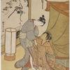 Suzuki Harunobu 鈴木春信, 1725?–1770 Courtesan saying goodbye to lover beneath mosquito net ca. 1767–69