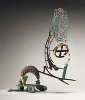Nancy Graves  American, 1939–1995  Eclipse, 1987 Steel, wood, bronze with polychrome patina and baked enamel 99.7 x 86.4 x 25.4 cm Princeton University Art Museum, Gift of Hans Mautner, Class of 1959 2004-266