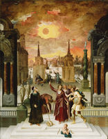 Antoine Caron French, 1521–1599 Dionysius the Areopagite Converting the Pagan Philosophers, 1570s Oil on panel, 92.7 x 73.02 cm The J. Paul Getty Museum 85.PB.117​