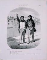 "Honoré Daumier French, 1808–1879 Vois-tu, c'est l'eclipse qui commence, ""Tout ce qu'on voudra"" #26, from Le Charivari, November 18, 1847 Lithograph; third state of three 24 x 19.8 cm (image), 36.3 x 25.4 cm (sheet Princeton University Art Museum x1935-164"