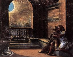 Raphael and his workshop, Isaac and Rebecca Spied upon by Abimelech, 1518–19. Fresco, Loggia, Vatican Palace (Art Resource ART36123)
