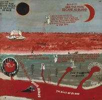 Howard Finster  American, 1916-2001 And the Moon Became as Blood, 1976 Enamel on fiberboard 74.93 x 76.52 cm Smithsonian American Art Museum, Gift of Herbert Waide Hemphill Jr. 1988.74.7