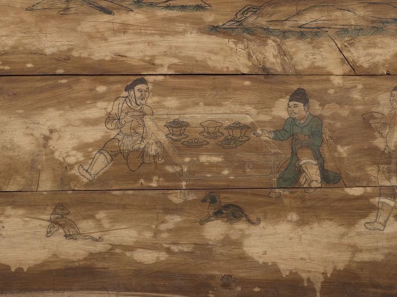 Coffin box panel: Outdoor Banquet (detail)
