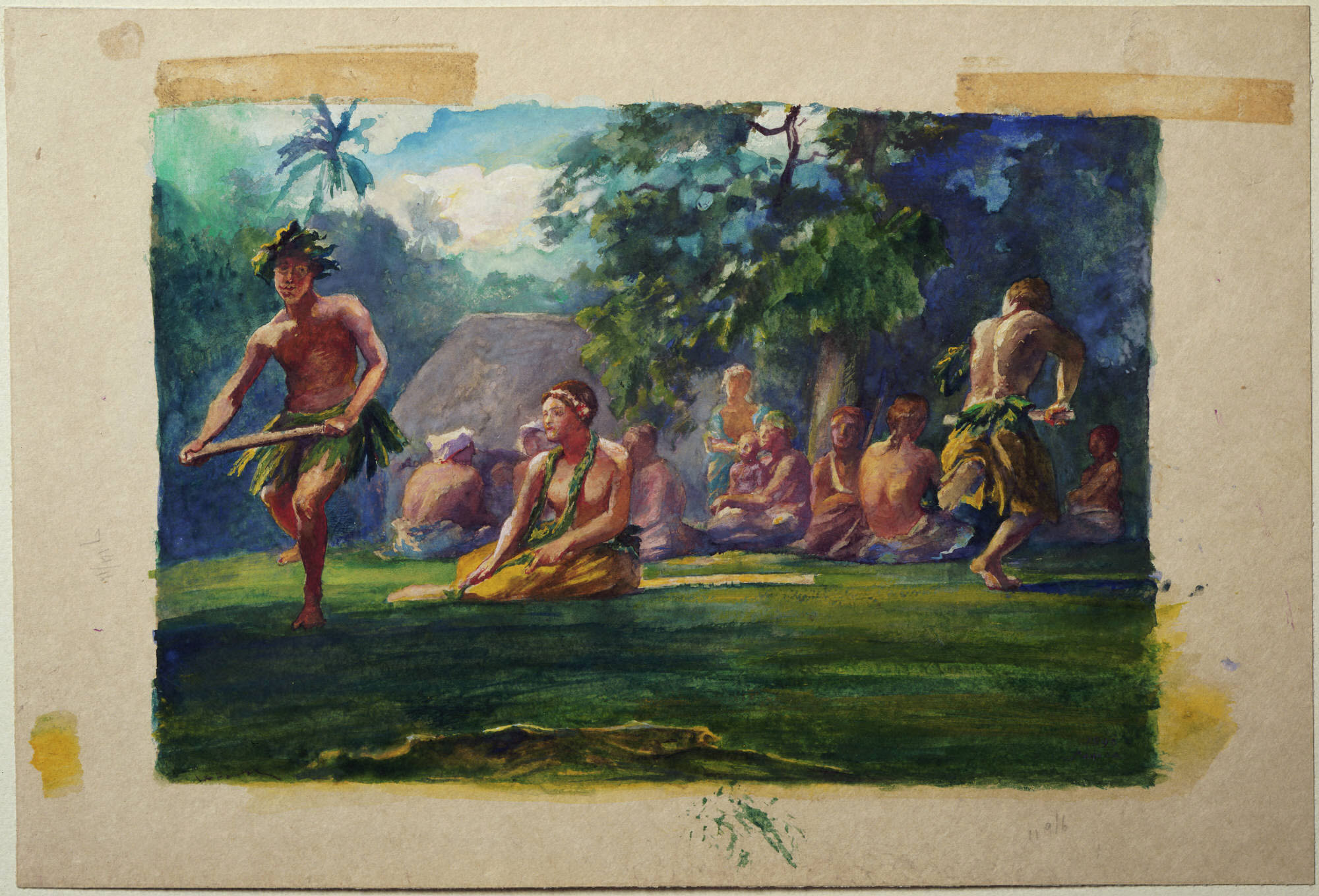 John La Farge, American, 1835–1910: Taupo and Attendants Dancing in the Open Air, Iva in Savaii, Samoa, 1890. Gouache and watercolor. Gift of Frank Jewett Mather Jr. (x1948-1798).